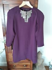 BNWT Ted Baker purple beaded placket tunic dress Ted 0 UK 6
