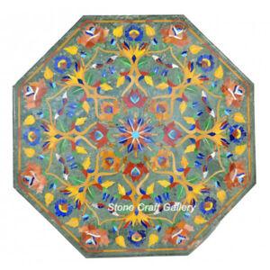 "30"" Green Marble Coffee Table Semi Precious Stones inlay pietradura Work Decor"