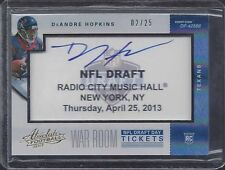 DEANDRE HOPKINS 2013 ABSOLUTE WAR ROOM DRAFT DAY TICKETS ON CARD AUTO RC #D 2/25