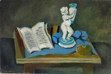 Stillleben mit Putto und aufgeschlagenem Buch,Expressiv/kubistisch, kyrillisches