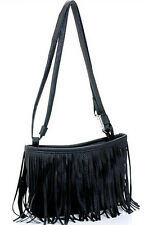Fashion vintage faux fringe tassle pu leather satchel shoulder handbag for women