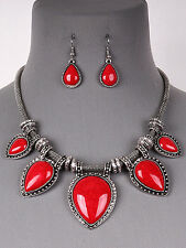 Red Teardrop Antique Silver Tone Statement Necklace Earrings Fashion Jewelry Set