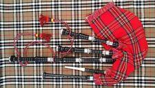 Scottish Great Highland Bagpipe Rosewood Black Finish Silver mount Tutor Book