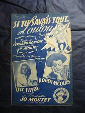 Partition Si tu savais tout Loulou Lily Fayol Roger Nicolas 1955 Music Sheet