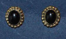 Onyx Brass Stud Costume Earrings