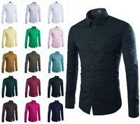 New Fashion Mens Luxury Slim Fit Dress Shirts Stylish Casual Shirt Long Sleeve E