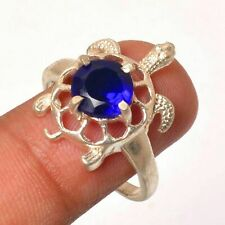Tanzanite Gemstone 925 Sterling Silver Plated Tortoise Ring Size- HR-107