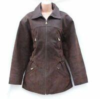 Women's Vintage SAKI Hip Length Brown 100% Leather Jacket Coat Size UK14 UK16