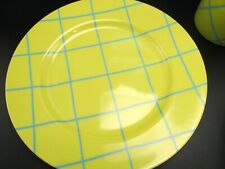 "New Fitz & Floyd Windowpane Aqua on Yellow 7 1/2"" Salad Plate"
