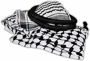 Black and White Checkered Middle East Keffiyeh Head Scarf with Agal Islamic Rope