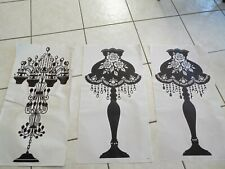 Lot of 3 wall lamps chandelier black silver studs self adhesive stickers