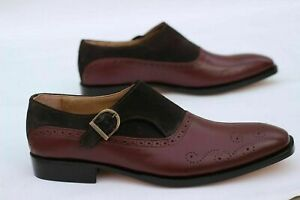 NEW-Men Handmade Two Tone Suede & Leather, Single Buckle Brogue Dress Mens Shoes