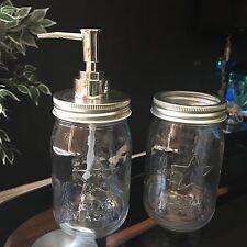 GLASS MASON JARS BATHROOM ACCESSORIES SET SOAP DISPENSER TOOTHBRUSH HOLDER SET