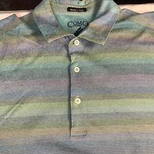 Como Sport Short Sleeve Cotton Polo Muti color Stripes Golf Shirt Italy Mens XL