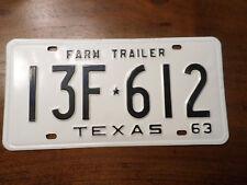 "1963 TEXAS ""Farm TRAILER"" LICENSE PLATE  New Old Stock NOS"