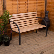More details for garden bench 3 seater slatted wooden steel outdoor park patio furntiure seat