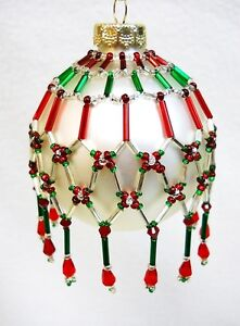 """PATTERN ONLY Beaded Christmas Ornament Cover Holiday Original """"Tapestry"""""""