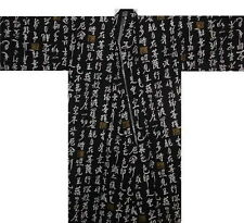 "Japanese Men's Yukata Kimono Kanji Black 62"" #LL Made in Japan EK201"