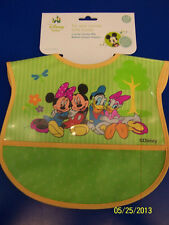 Mickey & Friends Disney Green Plastic Crumb Catcher Bib Fabric Baby Shower Gift