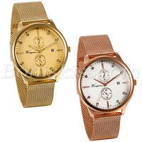 Men's Luxury Stainless Steel Rhinestone Mesh Band Date Analog Quartz Wrist Watch