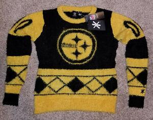 Pittsburgh Steelers Women's Small Klew Eyelash Crewneck Ugly Christmas Sweater