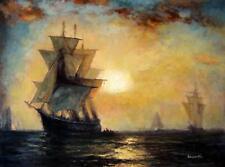 paysage marin bateaux tableau peinture huile sur toile signée
