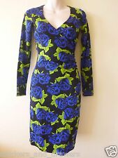 Betsey Johnson RARE Dress BLUE ROSE Floral TIN CAN Black WRAP TOP Sheath P 0 2 4