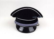 Replica WWII German Elite Officer Wool Hat Officer Cap Black W badge