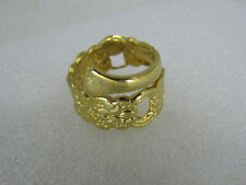 Gold tone By-pass Spoon Fancy Ring sz 5