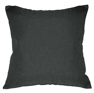 Qh22a Dark Grey Linen Cotton Blend Style Cushion Cover/Pillow Case Custom Size