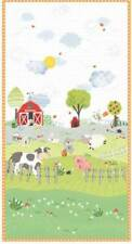 """PATCHWORK/CRAFT FABRIC 100% COTTON -  COT PANEL  23"""" X 44"""" OFF TO THE FARM"""