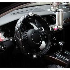 38cm Universal Crystal Crown Black Foam PU Leather Auto Car Steering Wheel Cover