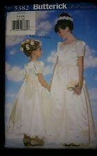 BUTTERICK 5382 Girls Wedding Bridal Flower Girl Dress Petticoat 5-6-6X UNCUT