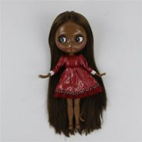 "12"" Neo Blythe Doll From Factory Jointed Body Super Black Skin Brown Hair"