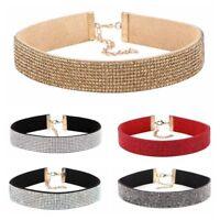 Fashion Velvet Full Diamond Crystal Rhinestone Choker Collar Boho Necklace Gift