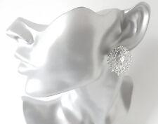Beautiful 28mm long silver tone & diamante - crystal cluster stud earrings  #27