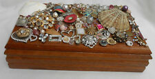 WOOD DRESSER BOX RHINESTONE JEWELS JEWELRY WOMENS OOAK Girls Vanity
