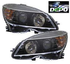 08-11 C-Class W204 C300 C350 Black Projector Head Lights Halogen OE Style DEPO