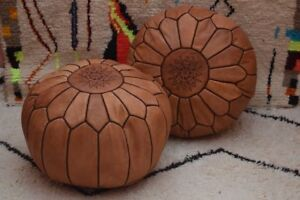 MOROCCAN TANNED HAND STITCHED LEATHER POUFFE - LIMITED EDITION - FILLED