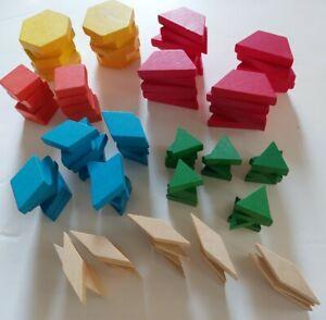 130 WOODEN PATTERN BLOCKS Manipulatives  Montessori - 6 different shapes/colors