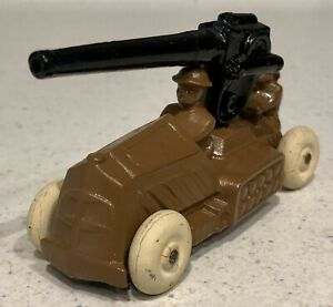 Manoil Lead Toy Soldier Armored Car w Anti-Aircraft Gun Metal Toy Vehicle 1930s