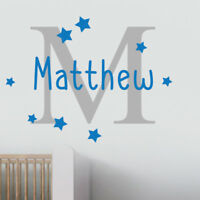 Custom Boys Inital Name Personalised Nursery Wall Decal Art Bedroom Wall Sticker