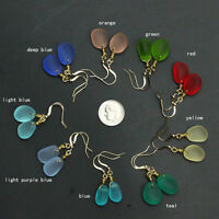 handmade top drilled sea glass pendant earrings with gold filled hook