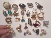 Single earrings. vintage clip on, Trifari, Monet, Avon + more. gold tone, stones