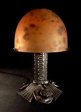 DAUM☨NANCY: LAMPE CHAMPIGNON ART DÉCO EN FER FORGÉ & OBUS EN PÂTE DE VERRE 1930
