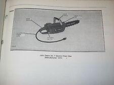 Original John Deere No.7 Electric Chainsaw Parts Catalog Manual
