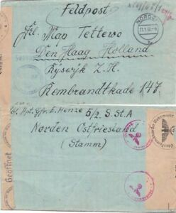Germany 1942 Sent from Garrison to Den Haag to addressee  thee?? {See below}