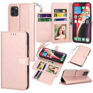 For iPhone 12/12 Pro Max Case Leather Wallet Cover With Tempered Glass Protector