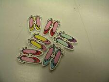 6 boutons  neuf mercerie bois chaussons ballerines 2.5x1.8cm t57ref14