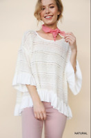 UMGEE Wide Neck Crochet Bell Sleeve Top With Ruffled High Low Hem Size Large NWT